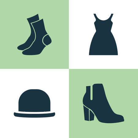 Dress Icons Set. Collection Of Dress, Half-Hose, Female Winter Shoes And Other Elements. Also Includes Symbols Such As Half-Hose, Sundress, Socks. Illustration