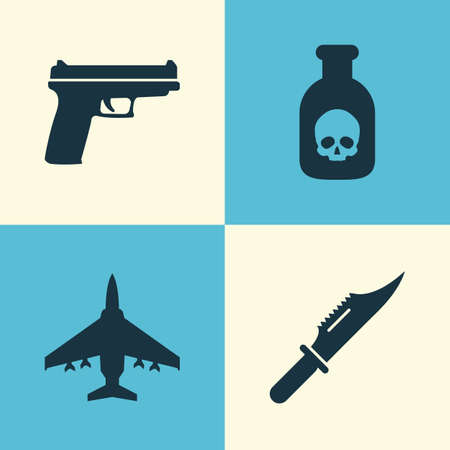 mortal: Army Icons Set. Collection Of Weapons, Aircraft, Cutter And Other Elements. Also Includes Symbols Such As Scalper, Cutter, Danger.