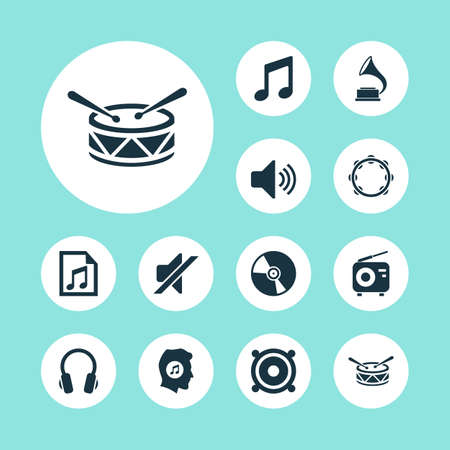 Music Icons Set. Collection Of Cd, Meloman, File And Other Elements. Also Includes Symbols Such As Playlist, Note, Instrument.