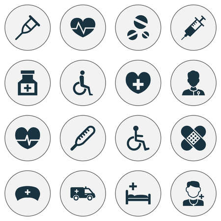 polyclinic: Drug Icons Set. Collection Of Polyclinic, Rhythm, Heal And Other Elements. Also Includes Symbols Such As Medicine, Syringe, Stethoscope.