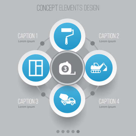size: Architecture Icons Set. Collection Of Cement Vehicle, Paint Roller, Digger And Other Elements. Also Includes Symbols Such As Cement, Digger, Roller. Illustration