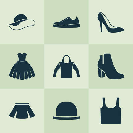 sleeveless hoodie: Garment Icons Set. Collection Of Panama, Singlet, Sweatshirt And Other Elements. Also Includes Symbols Such As Female, Hoodie, Sweatshirt.