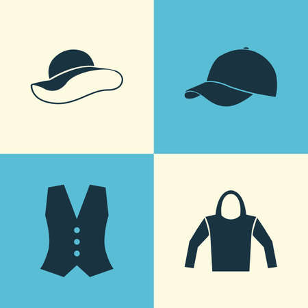 hooded: Dress Icons Set. Collection Of Trilby, Elegant Headgear, Sweatshirt And Other Elements. Also Includes Symbols Such As Cap, Headgear, Clothes.
