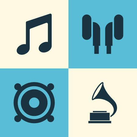 Audio Icons Set. Collection Of Music, Phonograph, Earmuff And Other Elements. Also Includes Symbols Such As Megaphone, Music, Earmuff.