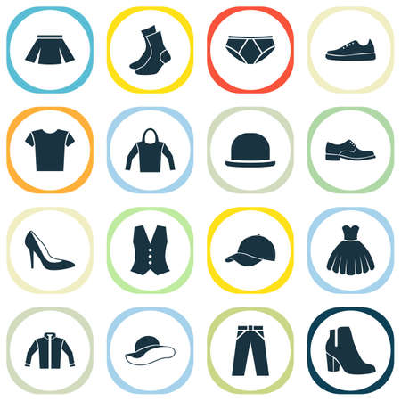 Garment Icons Set. Collection Of Stylish Apparel, Waistcoat, Trilby And Other Elements. Also Includes Symbols Such As Trilby, Half-Hose, Clothes. Illustration
