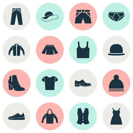 closet: Garment Icons Set. Collection Of Trunks Cloth, Briefs, Sweatshirt And Other Elements. Also Includes Symbols Such As Gumshoes, Skirt, Leggings. Illustration