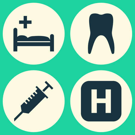 Drug Icons Set. Collection Of Peck, Polyclinic, Dental And Other Elements. Also Includes Symbols Such As Medical, Infirmary, Medicament.