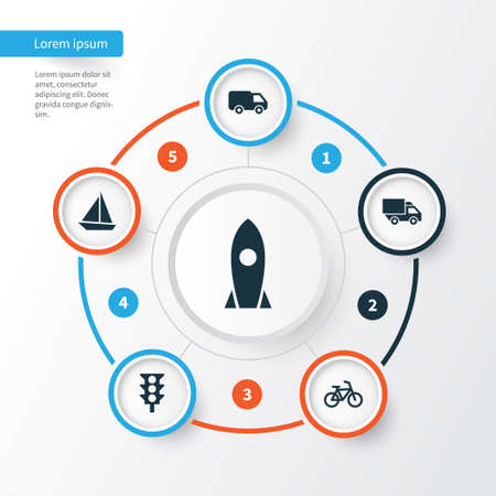 Transportation Icons Set. Collection Of Bicycle, Yacht, Truck And Other Elements. Also Includes Symbols Such As Spaceship, Flight, Traffic. Illustration