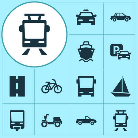 Transport Icons Set. Collection Of Skooter, Cabriolet, Bicycle And Other Elements. Also Includes Symbols Such As Taxi, Ship, Motorbike.