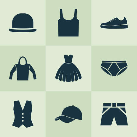Garment Icons Set. Collection Of Singlet, Trilby, Briefs And Other Elements. Also Includes Symbols Such As Hoodie, Singlet, Briefs. Illustration