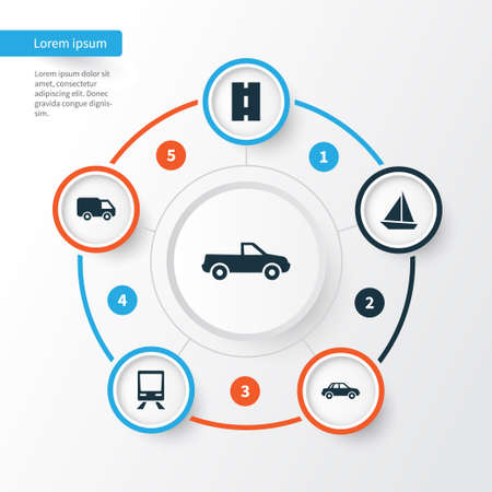 Transport Icons Set. Collection Of Way, Automobile, Truck And Other Elements. Also Includes Symbols Such As Cabriolet, Sail, Yacht. Illustration