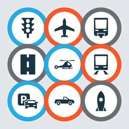 monorail: Transportation Icons Set. Collection Of Spaceship, Stoplight, Chopper And Other Elements. Also Includes Symbols Such As Traffic, Light, Monorail.