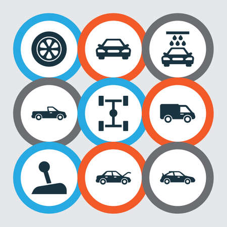 automatic transmission: Automobile Icons Set. Collection Of Transport Cleaning, Carriage, Crossover And Other Elements. Also Includes Symbols Such As Wheel, Sports, Car.