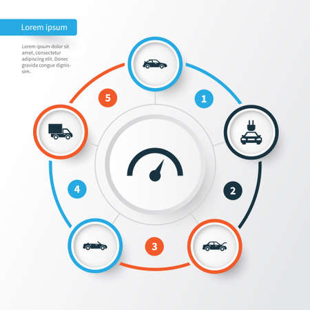 Automobile Icons Set. Collection Of Convertible Model, Plug, Fixing And Other Elements. Also Includes Symbols Such As Cabriolet, Convertible, Sports.