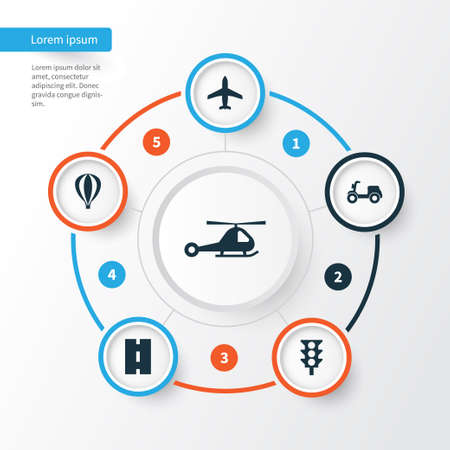Transportation Icons Set. Collection Of Way, Skooter, Airship And Other Elements. Also Includes Symbols Such As Aircraft, Motorbike, Air.