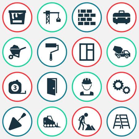 Bouw Icons Set. Verzameling van tandrad, trekker, muur en andere elementen. Bevat ook symbolen zoals Works, Rule, Cogwheel.