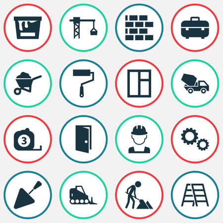 Construction Icons Set. Collection Of Cogwheel, Tractor, Wall And Other Elements. Also Includes Symbols Such As Works, Rule, Cogwheel.