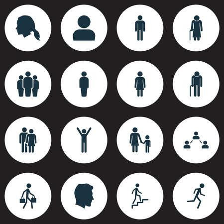 Mensen Icons Set. Verzameling van familie, Gentlewoman Head, opa-elementen. Bevat ook symbolen zoals joggen, meneer, ladder.