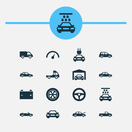Car Icons Set. Collection Of Drive Control, Chronometer, Van And Other Elements. Also Includes Symbols Such As Pickup, Battery, Repairing.