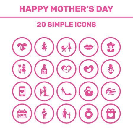 Mothers Day Icon Design Concept. Set Of 20 Such Elements As Mouth, Female And Pregnancy. Beautiful Symbols For Daughter, Shoes And Gift.