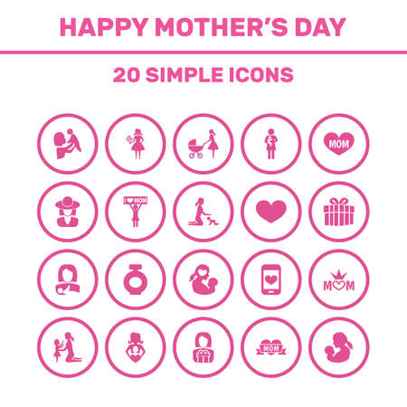 Mothers Day Icon Design Concept. Set Of 20 Such Elements As Missus, Woman And Soul. Beautiful Symbols For Gift, Queen And Kid. Illustration
