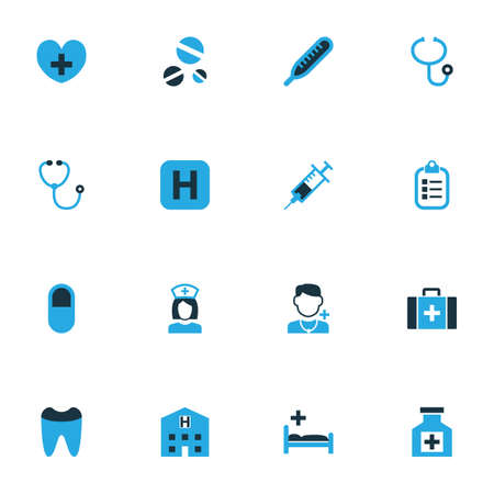 polyclinic: Medicine Colorful Icons Set. Collection Of Dope, Hospital, Pill And Other Elements. Also Includes Symbols Such As Man, Heart, Help.
