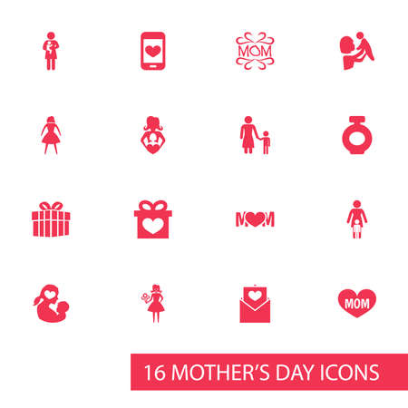 Mothers Day Icon Design Concept. Set Of 16 Such Elements As Female, Design And Text. Beautiful Symbols For Woman, Heart And Mam. Illustration