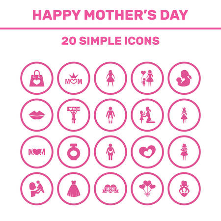 Mothers Day Icon Design Concept. Set Of 20 Such Elements As Female, Baby And Loving. Beautiful Symbols For Playing, Text And Princess.