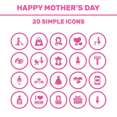 Mothers Day Icon Design Concept. Set Of 20 Such Elements As Helping, Package And Heart. Beautiful Symbols For Bag, Hand And Care.