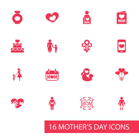Mothers Day Icon Design Concept Set Of 16 Such Elements As