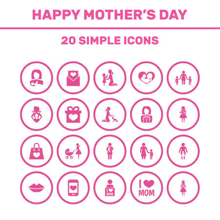 Mothers Day Icon Design Concept. Set Of 20 Such Elements As Letter, Daughter And Gift To Mother. Beautiful Symbols For Newborn, Shopping And Son. Illustration