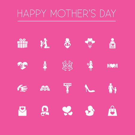 Mothers Day Icon Design Concept. Set Of 20 Such Elements As Package, Helping And Mam. Beautiful Symbols For Design, Child And Mother.