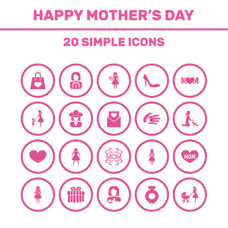 Mothers Day Icon Design Concept. Set Of 20 Such Elements As Lady, Hat And Letter. Beautiful Symbols For Queen, Daughter And Perfume. Illustration