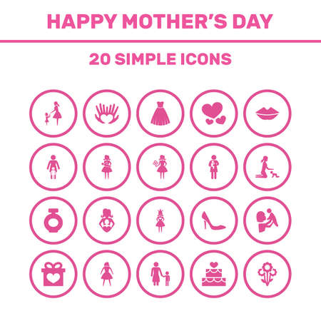 wedding dress: Mothers Day Icon Design Concept. Set Of 20 Such Elements As Kid, Stiletto And Evening Gown. Beautiful Symbols For Woman, Person And Gift. Illustration