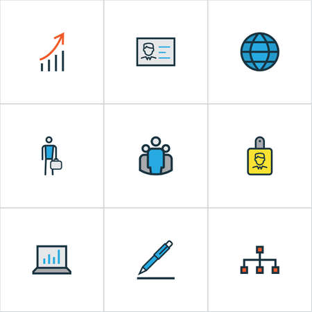 signing: Trade Colorful Outline Icons Set. Collection Of Worker, Pencil, Network And Other Elements. Also Includes Symbols Such As Global, Worker, Signing. Illustration