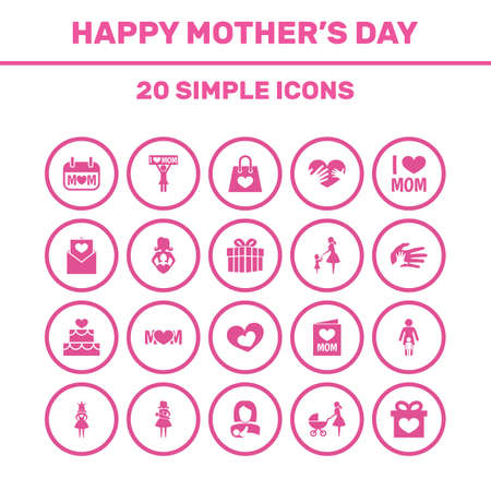 Mothers Day Icon Design Concept. Set Of 20 Such Elements As Pastry, Package And Design.