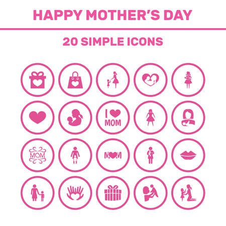 mujer en el supermercado: Mothers Day Icon Design Concept. Set Of 20 Such Elements As Protect, Relations And Soul.