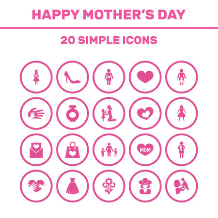 Mothers Day Icon Design Concept. Set Of 20 Such Elements As Relations, Helping And Letter. Beautiful Symbols For Children, Heart And Fragrance.