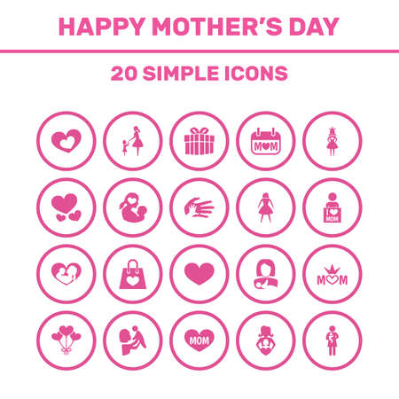 Mothers Day Icon Design Concept. Set Of 20 Such Elements As Newborn Baby, Shape And Heart. Beautiful Symbols For Ribbon, Heart And Daughter.