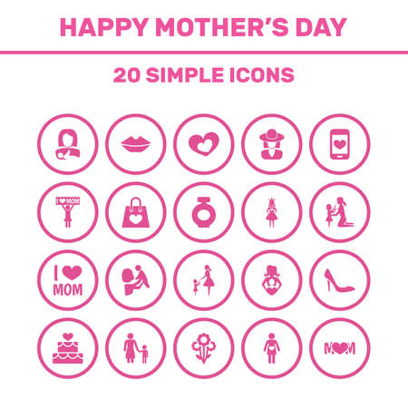 Mothers Day Icon Design Concept. Set Of 20 Such Elements As Emotion, Hat And Nanny. Beautiful Symbols For Son, Mother And Shopping. Illustration