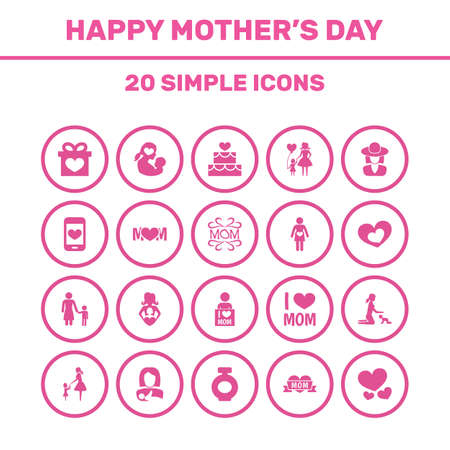 Mothers Day Icon Design Concept. Set Of 20 Such Elements As Protect, Mam And Fragrance. Beautiful Symbols For Infant, Woman And Fragrance. Illustration