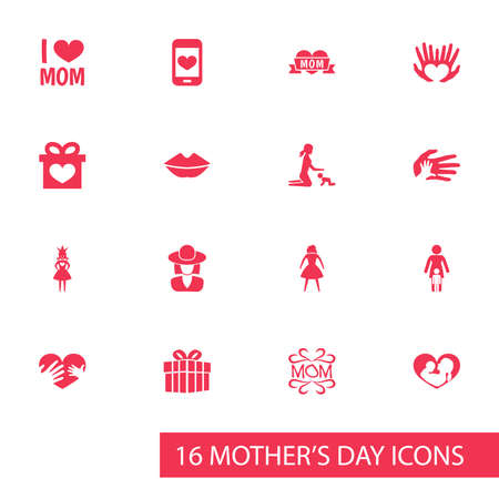 Mothers Day Icon Design Concept. Set Of 16 Such Elements As Queen, Hat And Emotion. Beautiful Symbols For Screen, Kiss And Care.