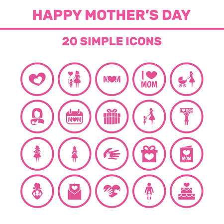 Mothers Day Icon Design Concept. Set Of 20 Such Elements As Gift, Queen And Protect. Beautiful Symbols For Post, Protect And Helping.