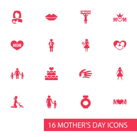 Mothers Day Icon Design Concept. Set Of 16 Such Elements As Pastry, People And Mouth. Beautiful Symbols For Flower, Heart And Pastry. Illustration