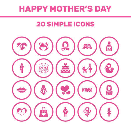 Mothers Day Icon Design Concept. Set Of 20 Such Elements As I Love Mom, Design, Hands. Beautiful Symbols For Woman, Kiss And Soul.