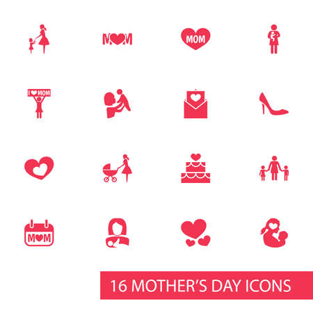 perambulator: Mothers Day Icon Design Concept. Set Of 16 Such Elements As Shape, Heart And Text. Beautiful Symbols For Pastry, Shoes And Protect.