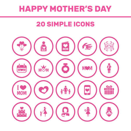 Mothers Day Icon Design Concept. Set Of 20 Such Elements As People, Protect And Emotion. Beautiful Symbols For Hand, Protect And Pastry.
