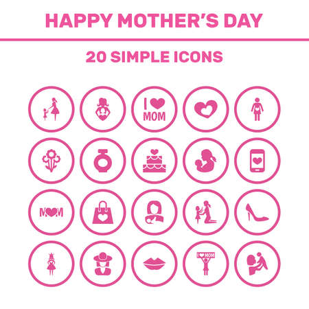 Mothers Day Icon Design Concept. Set Of 20 Such Elements As Kid, Protect And Stiletto. Beautiful Symbols For Bouquet, Screen And Perfume. Illustration