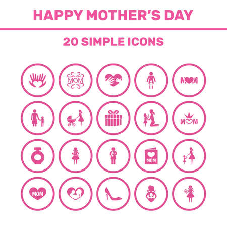 Mothers Day Icon Design Concept. Set Of 20 Such Elements As Design, Hands, Stiletto. Beautiful Symbols For Mother, Mom And Daughter.