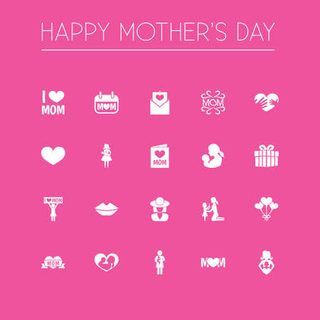Mothers Day Icon Design Concept. Set Of 20 Such Elements As Hands, Decoration, Invitation. Beautiful Symbols For Love, Daughter And Balloon.